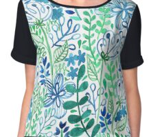 Blue Flower Ferns Painted Mosiac Watercolors Chiffon Top