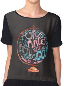 Oh The Places You'll Go - Typography Vintage Globe in Pink Blue Grey Chiffon Top