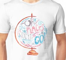 Oh The Places You'll Go - Typography Vintage Globe in Pink Blue Grey Unisex T-Shirt