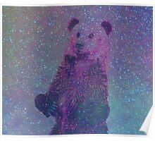 Bear Nebula (brown bear in a starry sky) Poster