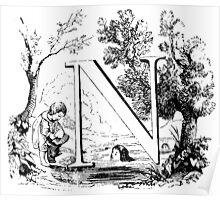 Child Alphabet Letter N Poster