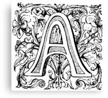Floral Alphabet Letter A Canvas Print