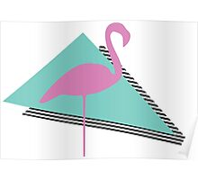 Miami Flamingo Triangle Poster