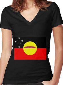 Koori Australian Flag  Women's Fitted V-Neck T-Shirt