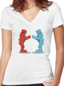Rock 'Em Sock 'Em Robots Women's Fitted V-Neck T-Shirt