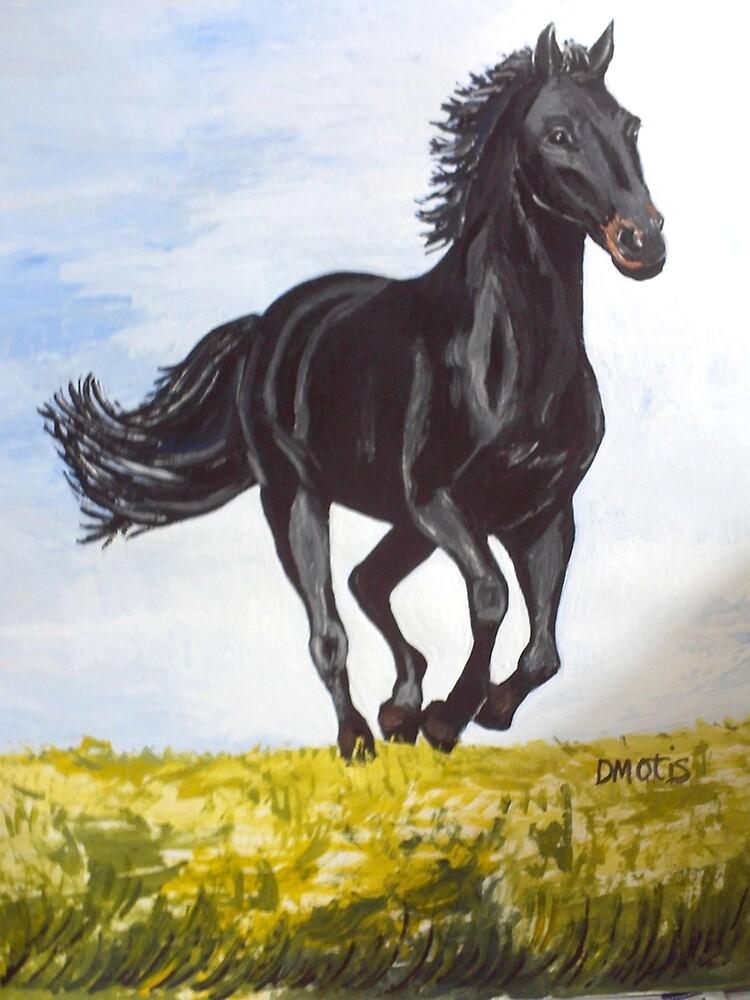 Beautiful Black Horse on Morning Run by dorcas13