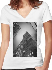 New York City skyscrapers Women's Fitted V-Neck T-Shirt