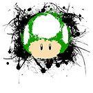 Abstract Paint Splatter 1up Mushroom by scribbleworx