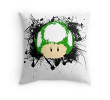 Abstract Paint Splatter 1up Mushroom Throw Pillow
