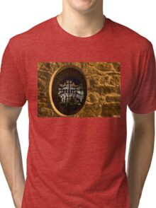 Illuminated Night View - Magnificent Revival House Through a Fence Window Tri-blend T-Shirt