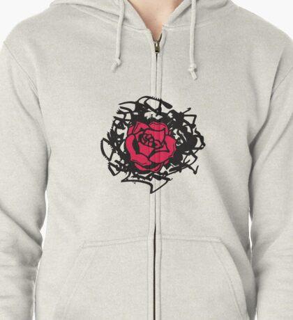 Red Rose Zipped Hoodie