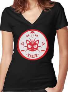 -GEEK- Team Valor Meowth Women's Fitted V-Neck T-Shirt