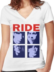 RIDE - RIDE UK BAND SHOEGAZER- Women's Fitted V-Neck T-Shirt