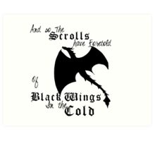 Black Wings In The Cold Art Print