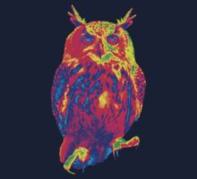 owl heat effect art animal lover Kids Tee