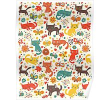 So many cats! Cute pattern! Poster