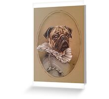 Hendrick the pug in fancy dress Greeting Card