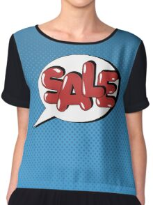 Bubble with Expression Sale in Vintage Comics Style Chiffon Top