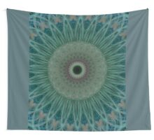 Flowery mandala in green blue and gray colors Wall Tapestry