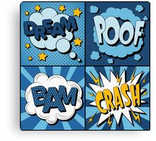 Set of Comics Bubbles in Vintage Style. Expressions Dream, Poof, Bam, Crash Canvas Print