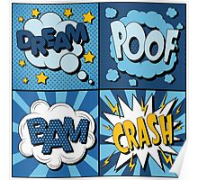 Set of Comics Bubbles in Vintage Style. Expressions Dream, Poof, Bam, Crash Poster