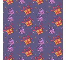 Happy Birthday Seamless Pattern with Presents for Children Party Photographic Print