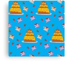 Happy Birthday Seamless Pattern with Cake for Children Party Canvas Print