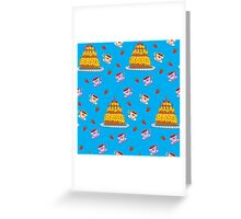 Happy Birthday Seamless Pattern with Cake for Children Party Greeting Card