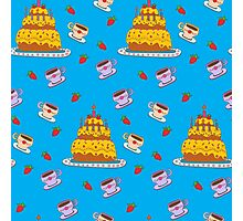Happy Birthday Seamless Pattern with Cake for Children Party Photographic Print