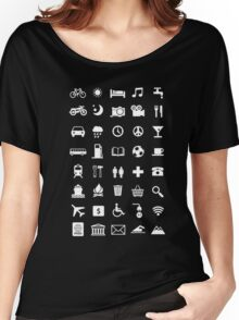 Backpacking Travel Speaking Icons T-Shirt Women's Relaxed Fit T-Shirt