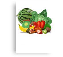 Set strawberry summer tomato vegetables Canvas Print