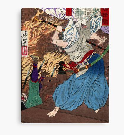 Oda Nobunaga - Yoshitoshi Taiso - c1880 - woodcut Canvas Print