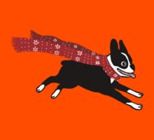 Holiday Boston Terrier Wearing Winter Scarf Kids Clothes