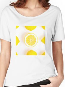 Half colorful lemon in a squared composition Women's Relaxed Fit T-Shirt