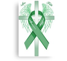 Green Awareness Ribbon on the Cross Canvas Print