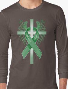 Green Awareness Ribbon on the Cross Long Sleeve T-Shirt