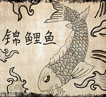Koi Fish on Parchment Paper by FlyingDreamer