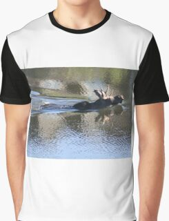 Swimming Moose Graphic T-Shirt