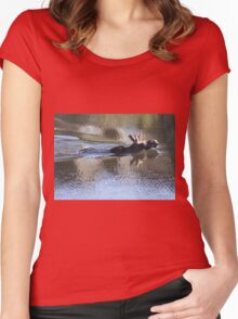 Swimming Moose Women's Fitted Scoop T-Shirt