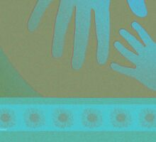 Babysitter Turquoise Tan Hands Sticker