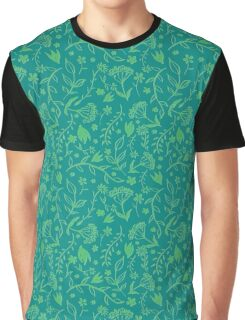 Green Floral Pattern - Japanese Brush Graphic T-Shirt