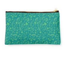 Green Floral Pattern - Japanese Brush Studio Pouch