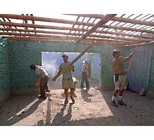 Earthquake volunteers, Paracas Photographic Print