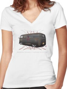 Vintage Panel Bus Women's Fitted V-Neck T-Shirt