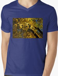 Golden Canopy - Look Up to the Trees and Enjoy Autumn - Horizontal Right Mens V-Neck T-Shirt
