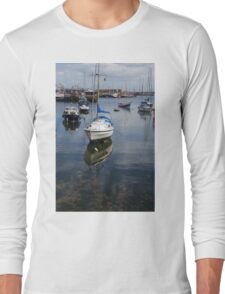 Boat Reflections in Brixham Harbour Long Sleeve T-Shirt