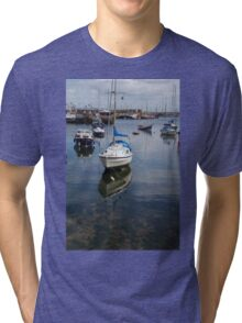 Boat Reflections in Brixham Harbour Tri-blend T-Shirt