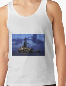 Oil Rig and Vessel at Night Tank Top
