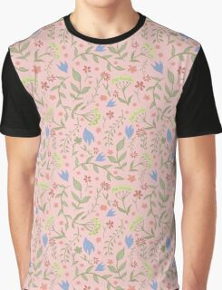 Trendy Pink Floral Pattern - Japanese Brush Graphic T-Shirt