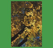 Golden Canopy - Look Up to the Trees and Enjoy Autumn - Vertical Left Kids Tee